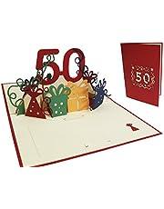LIN17262, POP UP 3D lyckokort, födelsedagskort 50. Födelsedag, bröllop 50, 50 år gratulationskort, rött (N20)