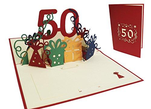 LIN17262, POP UP, 3D Glückwunschkarte, Geburtstagskarte, 50. Geburtstag, Hochzeit 50, 50. Jahre Grußkarte, rot, N20