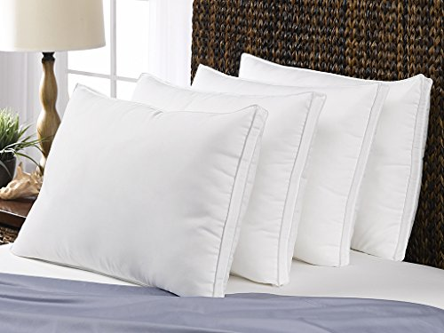 Le' Nautique Soft King Bed Pillows- 4 Pack White Hotel Pillows- Gel Fiber Filled Soft Gel Pillows with Hypoallergenic Gusset- Best Pillow for Stomach Sleepers