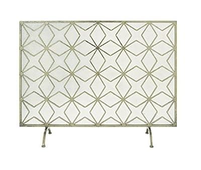 "Deco 79 Modern Star-Designed Rectangular Metal Fireplace Screen, 28""H x 38""L, Textured Gold Finish by Benzara"