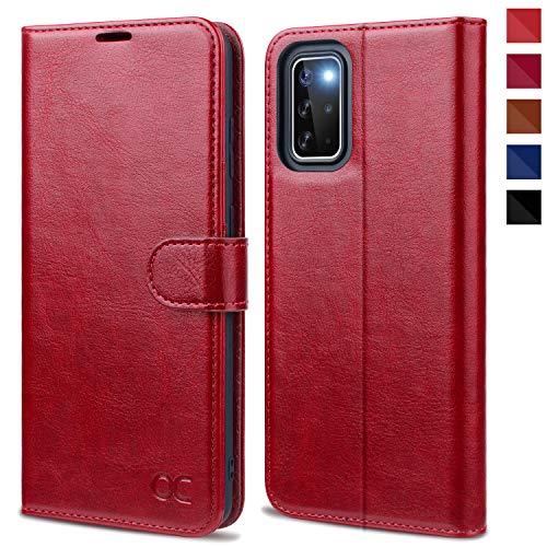 OCASE Samsung Galaxy S20+ Plus Hülle Handyhülle [Premium PU Leder] [Standfunktion] [Kartenfach] [Magnetverschluss] Tasche Cover Etui Schutzhülle lederhülle für Samsung Galaxy S20+ Plus Rot