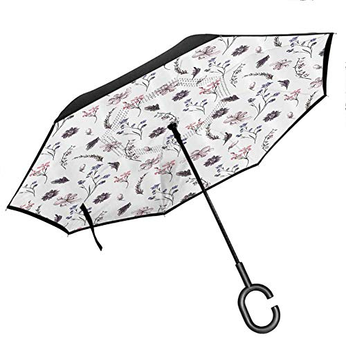 Flower House Decor Collection Upside Down Umbrella with C-Shaped Handle Natural Springtime Lavender Orchids Bluebonnets and Wildflowers Cottage Decor Violet White