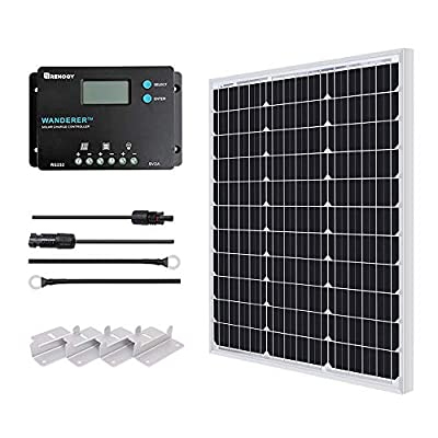 Renogy 50W Monocrystalline 12V Solar Panel Kit with 10A 12/24V PWM LCD Charge Controller, 5V USB Ports, for RVs,Boats,Trailers,Sheds,Cabins and Any Off Grid System