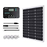 Renogy 50W Monocrystalline 12V Solar Panel Kit with 10A 12/24V PWM LCD Charge Controller, 5V USB Ports, for...