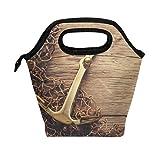Use7 Lunchbox/Lunchbox/Lunchbox/Handtasche aus Holz, Vintage-Anker