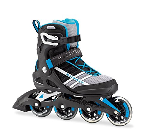 Rollerblade Macroblade 84 Womens Adult Fitness Inline Skate - White/Cyan Blue - 84 mm / 84A Wheels with SG7 Bearings - Performance Skates -US size 6.5, White/Cyan Blue, Size 6.5