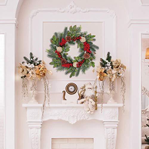 Hangarone Ghirlande Natalizie, Bacche Rosse Classiche E Pigne Decorazioni per Ghirlande Natalizie Ornamenti per Appendere A Parete Decorazioni Natalizie Merry Christmas, 18 Pollici Safety