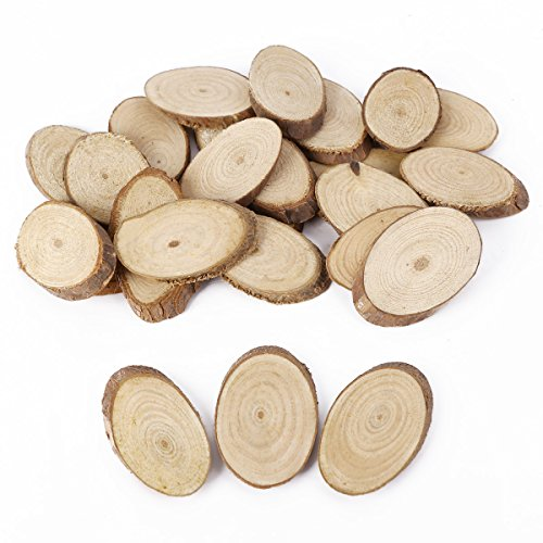 Wooden Wood Log Slices Natural Tree Bark Decorative Disc Woodworking Tree Branch (Oval)