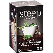 steep by Bigelow Organic English Breakfast Tea Bags, 20 Count Box (Pack of 6), Caffeinated Black Tea 120 Tea Bags Total