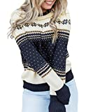 Maolijer Women Holiday Ugly Christmas Sweater Casual Pullover Knitted Crewneck Jumper Top Snowflake