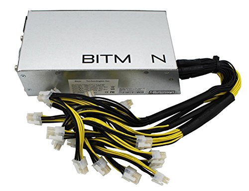 Switching Power Supply for Bitmain AntMiner L3+ S9 T9 (Model Number: APW3++-12-1600-A3), Wide Voltage Design, 1200W   1600W, 10 of 6-pin PCIe Connectors