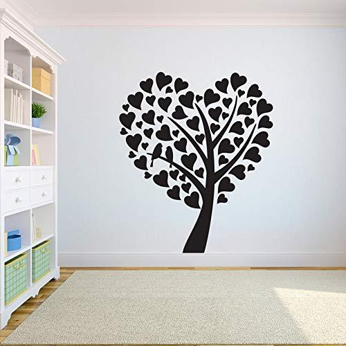 Boomwandtattoos slaapkamer boom van het leven boom vliegen vogels in huis hartvormige bladeren