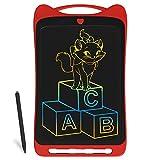 Richgv® Dessin Animé Tablette d'écriture LCD colorée, Tablette Graphique de 12 Pouces Digital Ewriter, Tablette de griffonnage Portable avec Stylet pour Enfants (Rouge)
