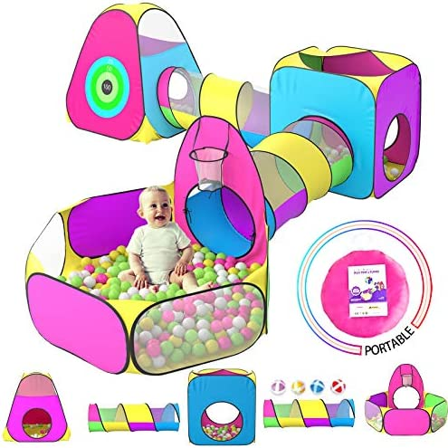 5pc Kids Play Tent for Toddler with 1 Baby Ball Pits 2 Baby Crawl Tunnels 2 Pop Up Tents Indoor product image