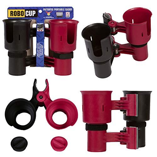 Robo Cup portavasos para la Barra de Bebidas caña de Pescar en Barco Playa Carrito de Golf Silla de Ruedas Andador Baquetas micrófono Rojo y Negro