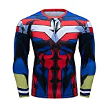 My Hero Academia All Might Costume Workout 3D Muscle Skin Compression Long Sleeve T-Shirt for Men(L)
