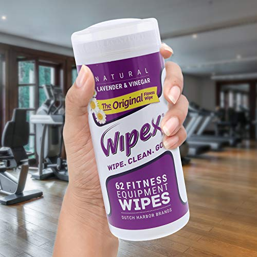 514Rf0RKMWL - Wipex The Original Natural Fitness Equipment Wipes for Personal Use, Lavender and Vinegar, 3 Canisters of 186 Wipes