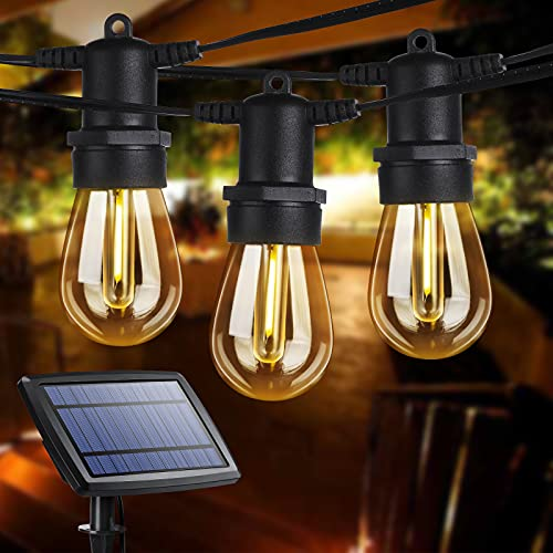 Outdoor String Lights, 51Ft Hanging S14 Globe Patio Lights with 16 Edison Vintage Bulbs, Shatterproof, Commercial Grade, Waterproof Solar String Lights for Patio,Bistro,Yard,Gazebo,Warm White (2700K)