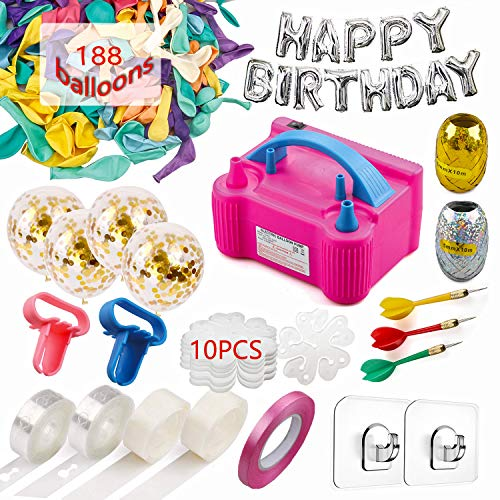 214 Pcs Balloon Pump Set- Electric Air Balloon Blower Pump, Balloon Inflator 110V 600W Portable Dual Nozzles - Balloon Decorating Strip Kit for Arch Garland + 32Ft Balloon Tape Strip, 2 Tying Tool, 200 Dot Glue, 10 Ballon Flower Clip, 3 Rolls Colored Ribbon, 2 Hooks, 3 Darts for Party Wedding Birthday Xmas Baby Shower DIY