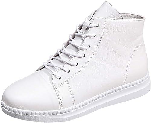 YAN Bottes en Cuir Haut-Haut Casual Chaussures Zipper Deck Chaussures Chaussures de Marche de l'Académie Chaussures de randonnée en Plein air Blanc,blanc,39