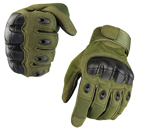 Full Finger Outdoor Glove Touch Screen Men`s Tactical Cycling Hunting Climbing Sports Glove for Military Airsoft Paintball Pistol Riding Motorcycle Smart Phone (Olive Medium)
