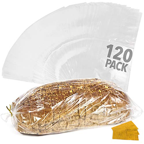 """[120 Pack] Plastic Bread Bags for Homemade Bread or Bakery - Heavy Duty Bread Loaf Bags with Ties - Clear Bread Wrappers Storage Packaging - Reusable Bag for Large Loaves - 8"""" x 4"""" x 18"""""""