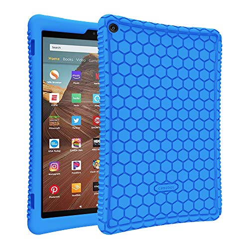 Fintie Silikon Hülle für Das Neue Amazon Fire HD 10 Tablet (9. & 7. Generation - 2019 & 2017) - Leichte rutschfeste Stoßfeste Silikon Tasche Case Kinderfre&liche Schutzhülle, Blau