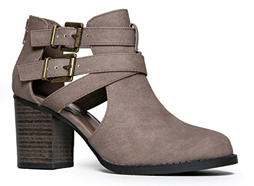 J. Adams Sammi Buckle Booties - Cut Out Stacked Wood Heel Western Ankle Boots