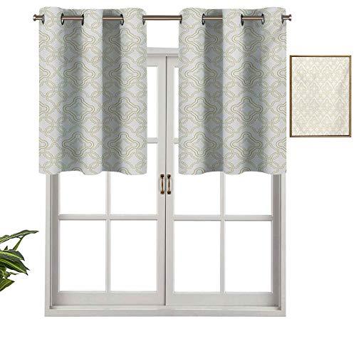 Hiiiman - Mantovana per finestra, motivo geometrico shabby chic, effetto classico, stile rococò orientale arabesco, set di 2 mantovane da 137 x 91 cm, per finestra da cucina con occhielli