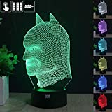 HUI YUAN Batman 3D Lamp Room Bedroom Decorative Night Light Multi 7 Color Change USB Cable Smart Touch Button LED Desk Table Light Kids Kiddie Gift Home Decoration