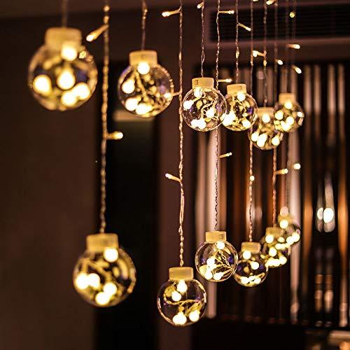 Lichtketting, kleurrijk, werkt op batterijen, voor kerstdagen, decoratief licht, transparant, sprookjesachtig, lichte bol voor slaapkamer, binnen, warmwit, 3 m, 12 ballen