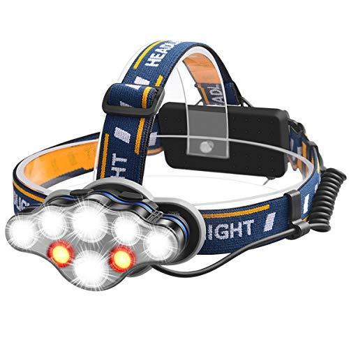 JOLVVN - Linterna frontal LED, 13000 lúmenes, con USB, recargable, resistente al...