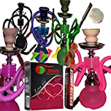 2 Hose Hookah Neon, Two Styles -12' Height, Cute Shape only Assorted 1 Hookah 25 foil Paper - Assorted 1 Flavor, Charcoal roll, 5 Mouth Tips, Tong (2 Hose, Mix Color and Style 2)