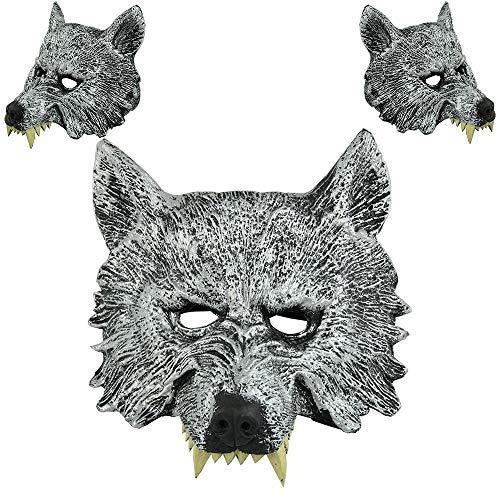 Watopi - Maschera da Lupo per Halloween, Spaventosa, a Mezza Testa, per Cosplay, Costume Realistico, per Uomo e Donna