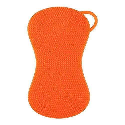 Silikonschwamm Küchenschwamm Reinigungsschwamm multifunktional (Einzelpack, Orange)