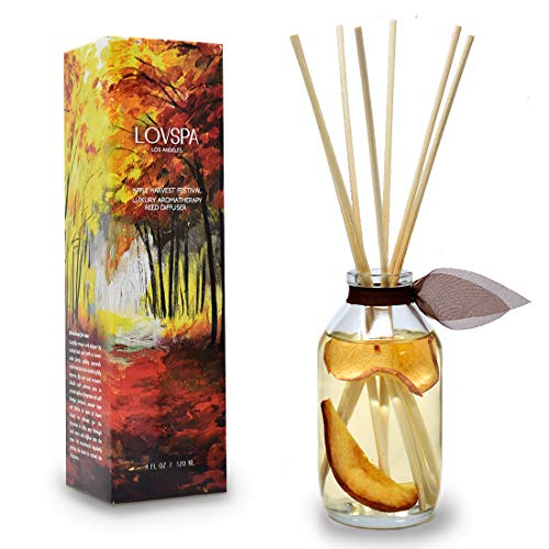 LOVSPA Apple Harvest Reed Diffuser Sticks Set with Fresh Red Apples and Roasted Pears, Infused with Real Fruit Slices, Room Scent Air Freshener Made in The USA