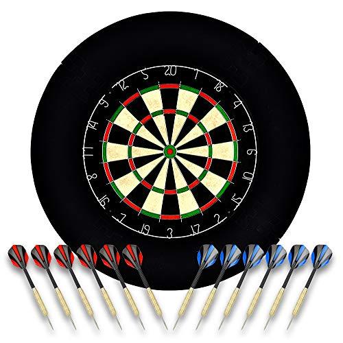 O Linkvisions Sisal/Borsten-Dartscheibe mit Stapelfreiem Bullseye, 18 g Stahlspitzen-Dartset, Dartscheiben-Montagesätze inklusiv