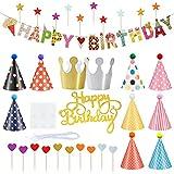 Huahuanghui Partyhüte Geburtstag Set,33 Stücke Partyhüte, und Banner...