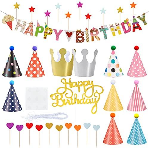 Huahuanghui Partyhüte Geburtstag Set,33 Stücke Partyhüte, und Banner Dekorationen,Geburtstagsfeier Dekorationen,Geburtstagsfeier Spruchband,Geburtstagsfeier Partyhüte,Geburtstag Party Dekoration