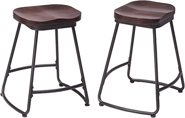 Changjie Furniture Kitchen Counter Bar Stools Indurtrial Bar Stools With Wooden Seats Set Of 2 24Inch Wooden Top