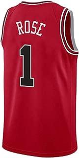 Jersey Derrick Rose No. 1, Bulls # 1, Camiseta sin Mangas de Jersey de Baloncesto, Uniformes de Baloncesto para Adultos y niños. (Rojo)