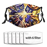 Drawn-Paintings-Vincent-Van-Gogh-Doctor-Who-Tardis Face Mask with Filter Pocket Washable Reusable Face Bandanas Balaclava with 6 Pcs Filters