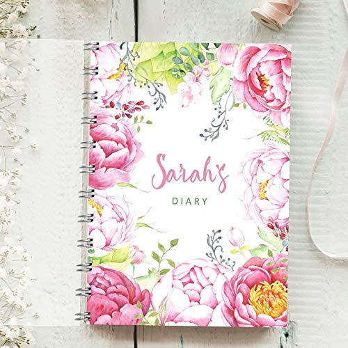 Personalised Diary Pink Peonies. Any Month Start, 1 Year Journal Planner....