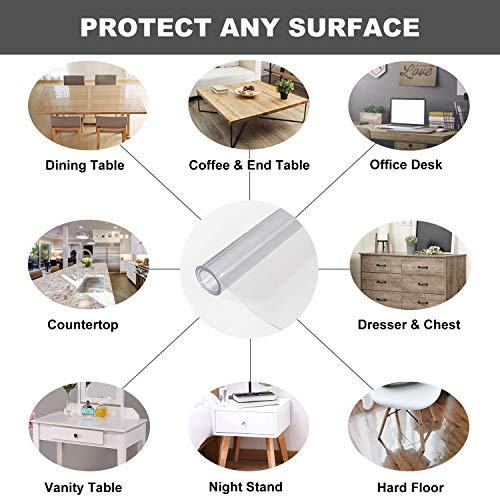OstepDecor Custom 2mm Thick Clear Table Cover, 60 x 24 Inch, Clear Table Protector, Water Resistant Clear Desk Pad Desk Mat for Coffee Table, Writing Desk, Countertop