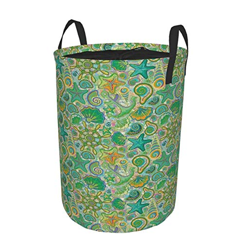 Collapsible Laundry Dirty Clothes HamperNautical Cute Animals Marine Colorful Floral Aquatic Starfish SeashellLarge Capacity with Drawstring Storage Bin for Family Waterproof Home Decor14 x 19in
