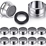 10 Pieces Kitchen Faucet Aerator, 24mm/ 0.94 Inch Replacement Parts with Brass Shell and Black Plastic Apron, Sink Faucet Aerator for Bathroom Kitchen Basin