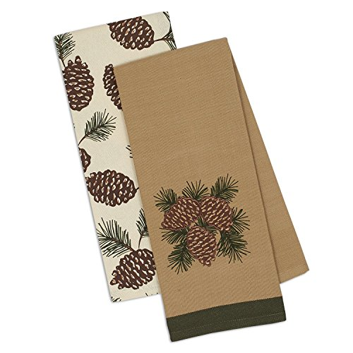 DII Design Imports Holiday Christmas Mountain Pine Pinecones Kitchen Dishtowels Set of 2 ~ Fall Winter