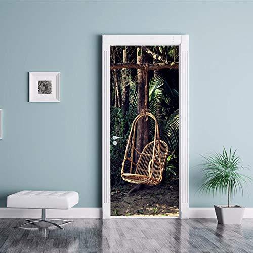 TACBZ 3D foto deur muurschilderingen behang verwijderbare zelfklevende muurschilderingen voor slaapkamer huis deur woonkamer slaapkamer kantoor muur stickers huis decoratie rieten stoel mand 2 stks/set 80X200CM