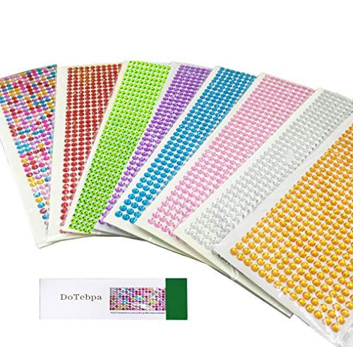 DoTebpa 4032 Pieces 6mm Colorful Bling Rhinestone Sticker Sheet Gem Diamond self Adhesive for Scrapbooking Embellishments and DIY Crafts ,Wedding,Decor