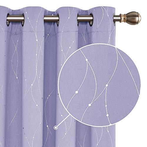 Deconovo Verdunkelungsvorhänge Ösen Vorhang Thermogardinen Blickdicht 229x140 cm Lavendel 2er Set